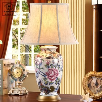 Chinese style classic red full copper Chinese style restoring ancient ways ceramic desk lamp sitting room bedroom luxury jingdezhen porcelain vase