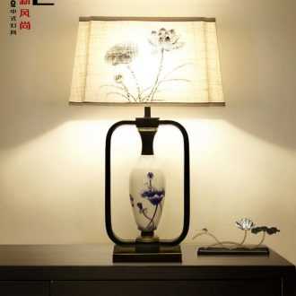 New Chinese style lamp I and contracted sitting room bedroom bedside lamp ceramic vase lamp study light warm room light