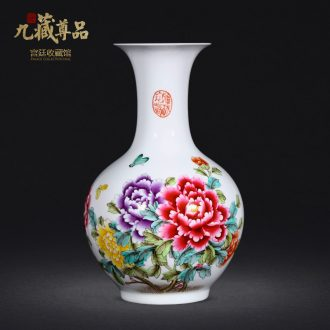 Jingdezhen ceramics vase hand-painted famille rose blooming flowers of the reward bottle of home sitting room collect adornment