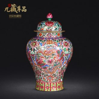 Jingdezhen porcelain vases, antique hand-painted enamel wire inlay fuels the general double phoenix wear purple flower pot home furnishing articles