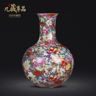 Jingdezhen ceramics imitation qing qianlong colored enamel bottle than a flower vase household decoration decoration furnishing articles sitting room