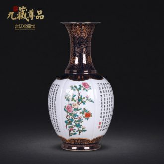 Jingdezhen ceramic vases, antique hand-painted pastel lions ears sweet cans Chinese style living room home decoration and furnishing articles