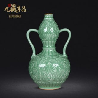 Jingdezhen ceramics archaize paint blue glaze carving ears bottle gourd sitting room home furnishing articles