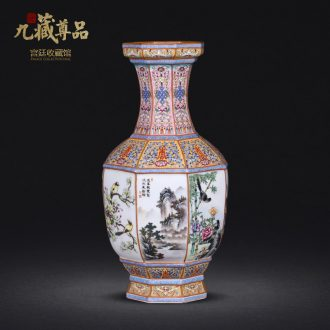 Jingdezhen ceramics imitation qing qianlong pastel bamian mountain water painting of flowers and many square vase sitting room adornment is placed