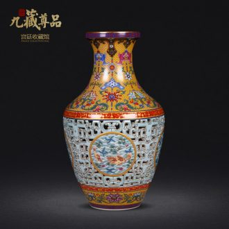 Manual high imitation qing qianlong pastel hollow out heart bottles of archaize of jingdezhen ceramic vase furnishing articles antique collection