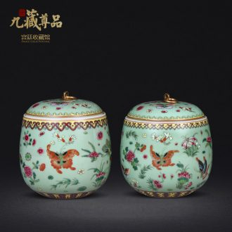 Archaize of jingdezhen porcelain qing qianlong pastel best butterfly cover can of antique hand-painted caddy penjing collection decorations