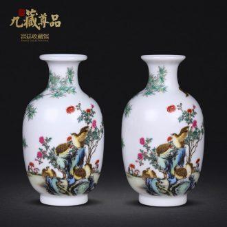 Jingdezhen ceramics imitation qing qianlong colored enamel ten bamboo treasure peace sitting room adornment handicraft furnishing articles collection