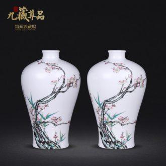 Jingdezhen ceramics imitation qing qianlong hand-painted long bamboo plum flower plum bottle decoration handicraft furnishing articles collection