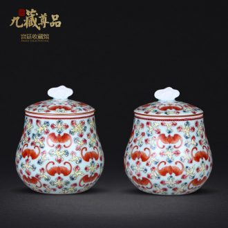 Jingdezhen ceramics antique hand-painted pea green glaze the bats grain caddy handicraft decoration penjing collection
