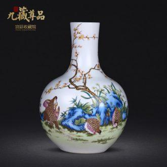 Jingdezhen ceramics hand-painted means safe bamboo vase flower arranging home sitting room manual art handicraft furnishing articles
