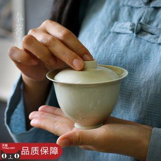 Serve tea plant ash glaze bowl is pure manual tureen kung fu tea sets ceramic dry bubble three to make tea cup