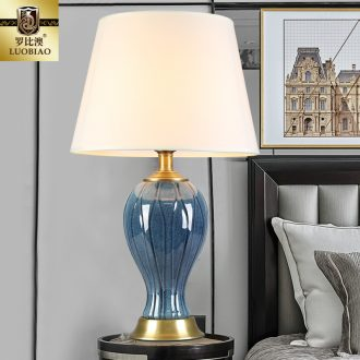 Europe type desk lamp lamp of bedroom the head of a bed creative American contracted household sweet American adjustable warm light LED ceramic lamp