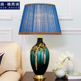 American luxury colored enamel lamp copper whole sitting room the bedroom berth lamp of Europe type restoring ancient ways creative ceramic decoration coloured drawing or pattern