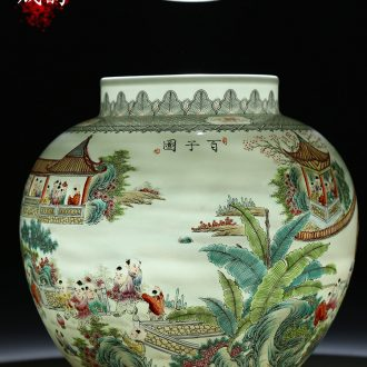 Jingdezhen ceramic new Chinese style living room porch hand - made flower vase furnishing articles home porch decoration decoration