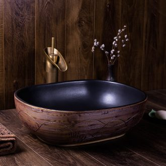 The stage basin oval ceramic lavabo wiredrawing antique household sanitary toilet toilet art basin sinks