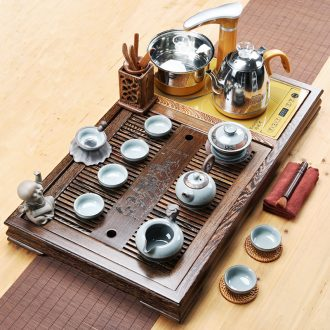 A friend is A complete set of chicken wings wood tea tray was kung fu tea tea set household ceramics elder brother your up solid wood tea tray of tea table
