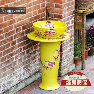Pillar lavabo ceramics basin hand-painted safflower one balcony floor toilet bath wash column basin