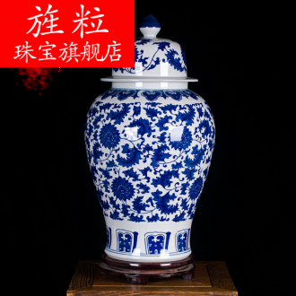 Continuous grain of jingdezhen ceramic general large as cans of blue and white porcelain vase modern vogue to live in the living room