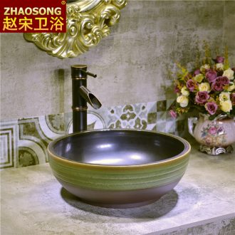 Europe type restoring ancient ways on the ceramic basin small toilet lavatory creative household on the stage of the basin that wash a face to 35 cm