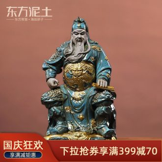Oriental clay ceramic wen guan gong furnishing articles new Chinese style household wine ark adornment manual sculpture handicraft sitting room