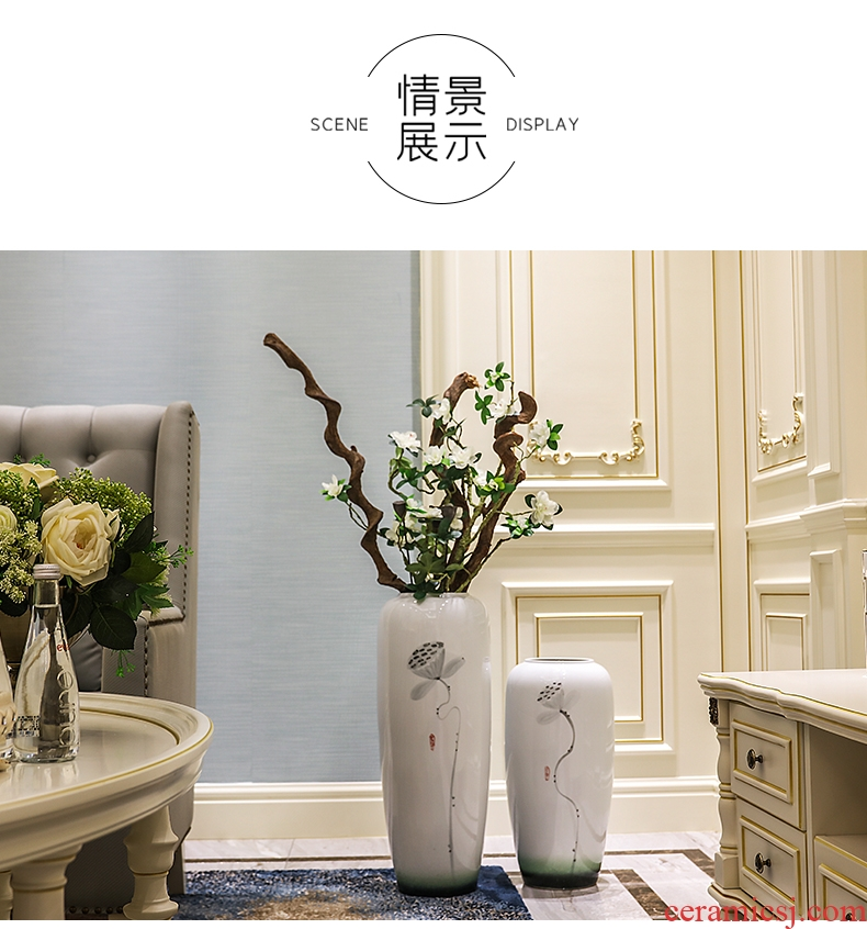 Jingdezhen chinaware bottle of archaize of large blue and white porcelain vase hotel sitting room adornment the company furnishing articles - 585130520325