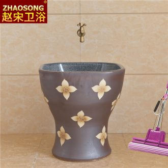 Ceramic art mop wash mop pool basin to the balcony square one-piece mop pool sweep the floor mop pool home