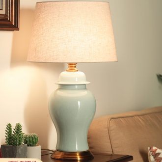 With large American sitting room of jingdezhen ceramic desk lamp bedside lamp is contracted and I bedroom mock up room desk lamp