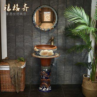 Pillar type lavatory balcony sink ceramic art basin of wash one Pillar basin bathroom floor