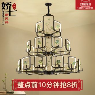 Jiao seven new Chinese style droplight ceramic compound floor of sitting room lamps and lanterns of double three-layer villa zen restaurant stair droplight