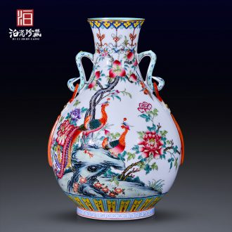 Jingdezhen ceramics imitation the qing qianlong pastel chicken ears pipa flower vase sitting room home furnishing articles