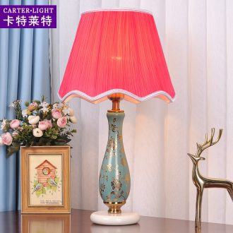 American ceramic contracted and contemporary personality of bedroom the head of a bed lamp warm romantic marriage room decoration creative study dimmer