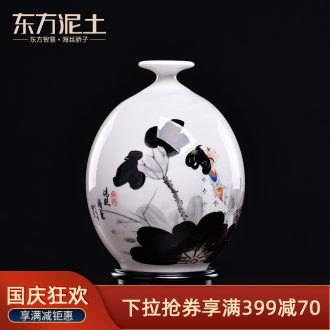 Oriental soil hand-painted ceramics vase is placed the new Chinese rich ancient frame sitting room adornment/qing poetry