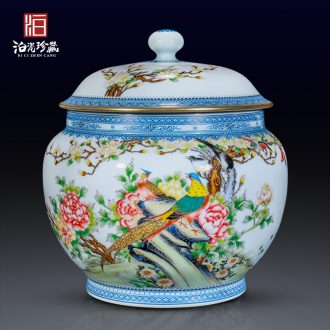 Archaize of jingdezhen ceramics colored enamel notes tong rich tea cover tank storage of Chinese style household adornment furnishing articles