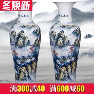 Jingdezhen ceramics hand - made modern Chinese landscape painting of large vase sitting room adornment hotel furnishing articles