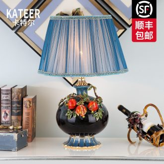 Cartel of new Chinese style living room colored enamel porcelain lamp American key-2 luxury European - style villas of bedroom the head of a bed lamp