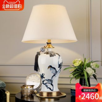 New Chinese blue and white porcelain ceramic desk lamp luxury villa living room atmosphere all copper chandelier lamp of bedroom the head of a bed