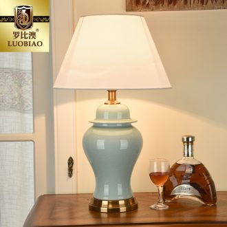 Robbie Macao American desk lamp bedroom the head of a bed lamp adjustable simple ideas warm warm light ceramic desk lamp of the remote control