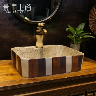 Jingdezhen stage basin ceramic art basin rectangle American grind arenaceous coloured brick restoring ancient ways the lavatory basin sink