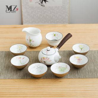 Hand-painted ceramic kung fu tea set suit small household contracted and contemporary sitting room of a complete set of tea cups 6 Chinese style