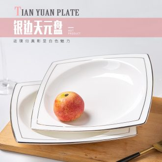 European white ipads China creative up phnom penh dish square household ceramics tableware silver side dishes beefsteak dish dishes