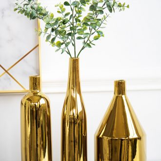 Ins Nordic golden vase ceramic creative furnishing articles flower arranging contracted and I living room table household decorative dried flowers