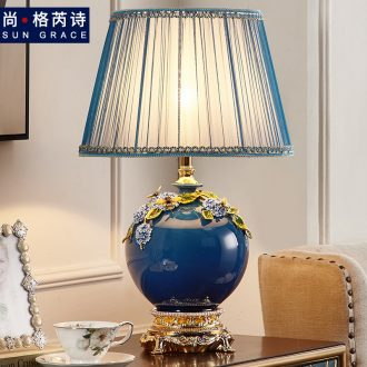 European - style key-2 luxury colored enamel lamp ceramic new Chinese style bedroom berth lamp light in the sitting room is contracted and I key-2 luxury restoring ancient ways