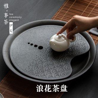 Coarse pottery tea tray a large pot of small round dry socket ceramic tea sea bubble tea kung fu tea set tray storage