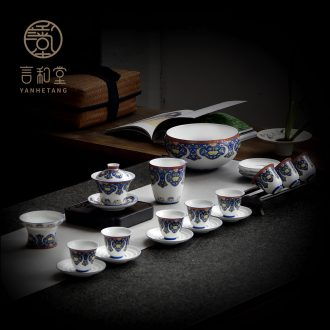 And hall of a complete set of kung fu tea tureen tea cup And cup suit small household baptism tea boxes of Japanese ceramics