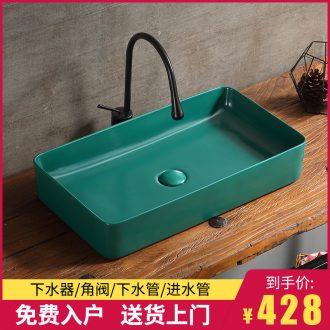 The sink basin on the northern wind single blackish green household washing toilet balcony ceramic art basin of water basin