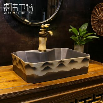 Ceramic lavatory art stage basin, black peaks on restoring ancient ways is the sink of household toilet wash basin