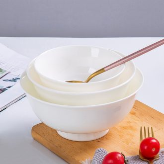 Jingdezhen ceramic bowl to eat tall foot rainbow such as bowl bowls bowl of pure white heat - trapping ceramic rice bowls white bread and butter