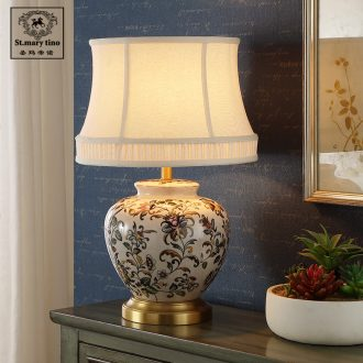 Santa marta full American cooper ceramic desk lamp sitting room bedroom berth lamp European corner sofa tea table lamps are Chinese style restoring ancient ways