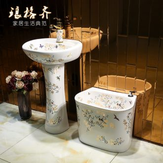 Restore ancient ways small pillar pillar type lavatory basin of mini Chinese ceramics small family floor sink basin