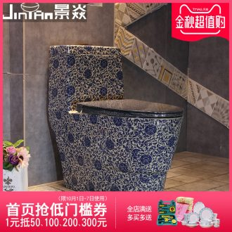 JingYan son back to the Chinese art of blue and white porcelain ceramic toilets siphon pumping ordinary household toilet implement
